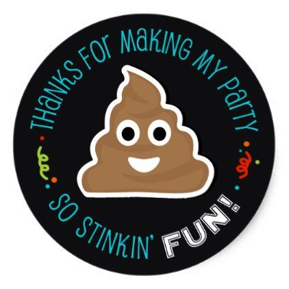 #party - #Poop Emoji Funny Birthday Party Thank You Stickers