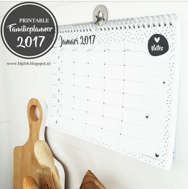 bijdeb: Free printable Familieplanner 2017...