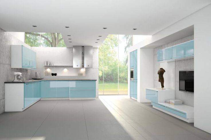 Light Blue High Gloss Modern Kitchen Cabinets | Modern Kitchen Cabinets  From Bauformat | Pinterest | Modern Kitchen Cabinets, High Gloss And  Kitchens