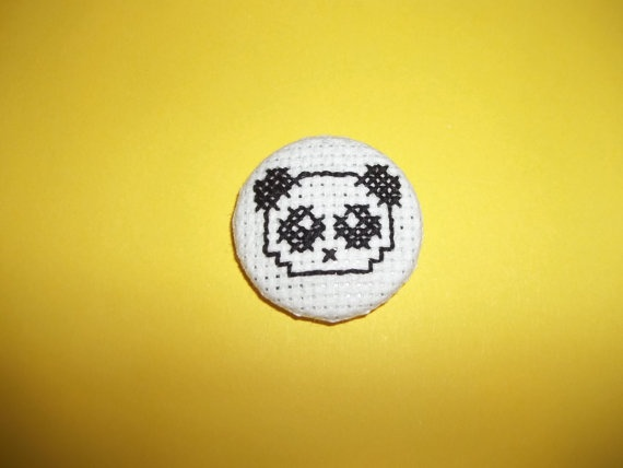 Panda Face Cross Stitch Badge by StreetStitchAndStuff on Etsy, £1.00
