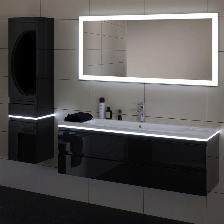 miroir mural contemporain rectangulaire lumineux led halo sanijura salle de bain