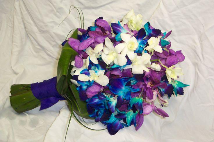 Blue, purple and white orchid bouquetPurple Orchids, Blue Orchids, Bridal Bouquets, Wedding Bouquets, Wedding Colors, Bridesmaid Bouquets, Purple Bouquets, Orchids Bouquets, Bouquets Flower