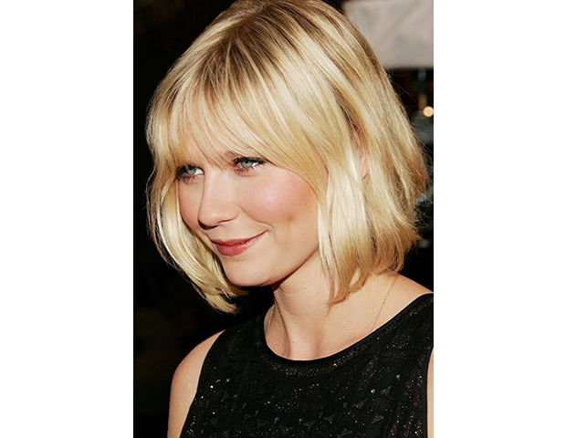 @Margaret Byrd Beauty - The Modern Bob with Fringe    Bangs completely change the feeling of a layered bob. Score Kirsten Dunst's girly style with eye-grazing, wispy fringe.