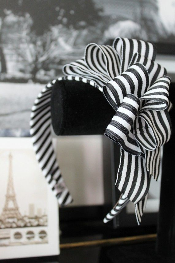 HeadGirl - Miss Doolittle Headband (Black and White Grosgrain) $29