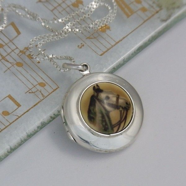 Grey Portrait Sterling Silver Locket w/chain - Sterling Silver - Jewellery