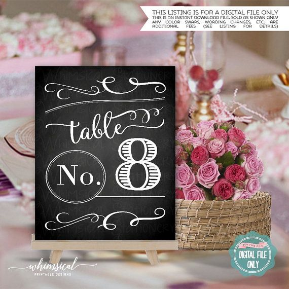 ♥ Printable Table Numbers - Instant Download - Chalk Swirls ♥  New instant…