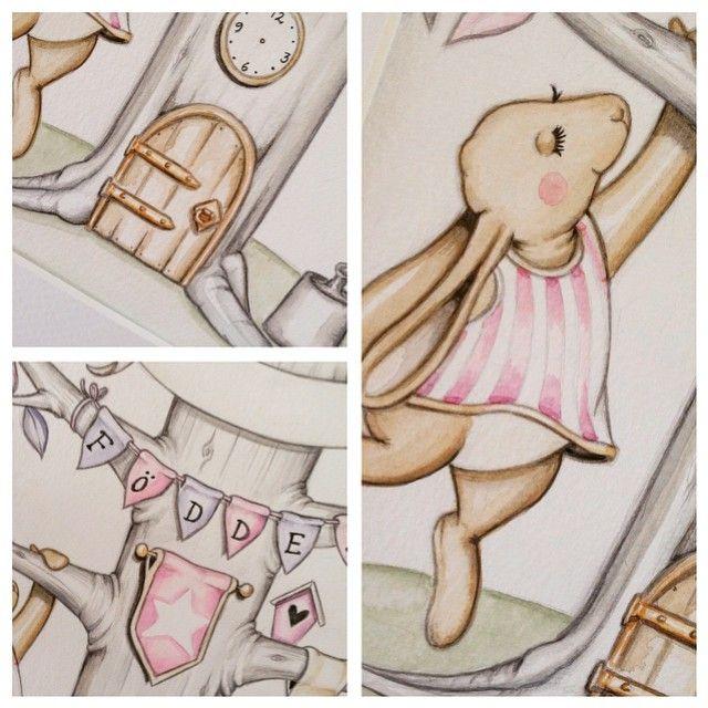Närbilder - akvarell i A4 #barntavla #namntavla #illustration #akvarell #art #paint #inspo #interiorinspo #interior #kidsroom #pojkrum #flickrum #aquarelle #watercolor #deco #guld #gold #prins #prinsessa #underbarabarnrum #barnrumsinspo #teckna #måla #illustratör #illustrera #baby #babyshower #barn #bebis