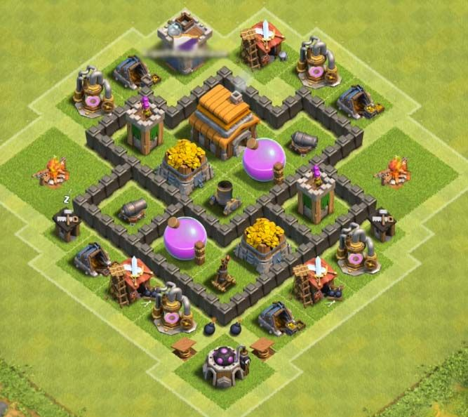 Base Coc Th 4 War 6