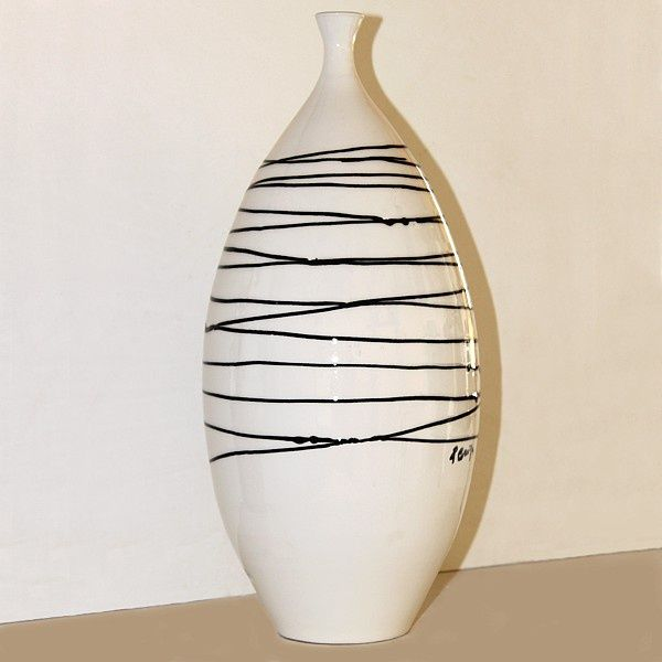 Vaso in ceramica bottiglia, bianco. Sardinian Store