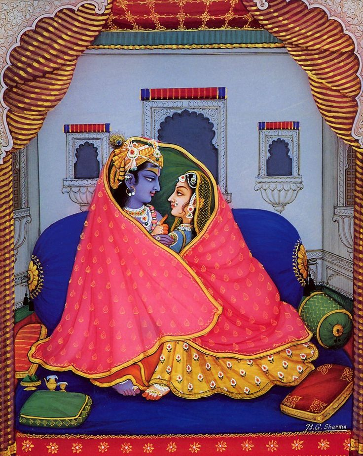 "arjuna-vallabha: ""Radha Krishna in the winter by B.G. Sharma """