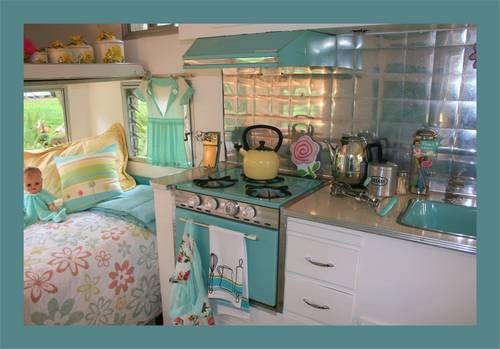 Glamping - aqua themed camper interior. I love this vintage look!!!