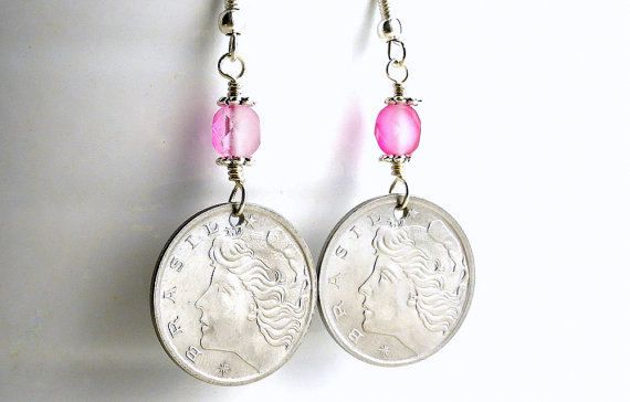 Brazilian Coin earrings Coin jewelry Fuchsia by CoinStories