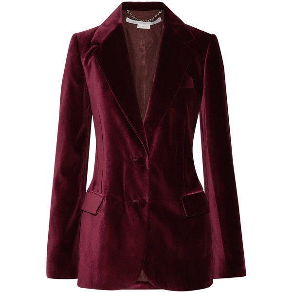 Stella McCartney Velvet blazer ($1,675) ❤ liked on Polyvore featuring outerwear, jackets, blazers, burgundy, burgundy jacket, loose jacket, tailored blazer, stella mccartney jacket and burgundy velvet blazer