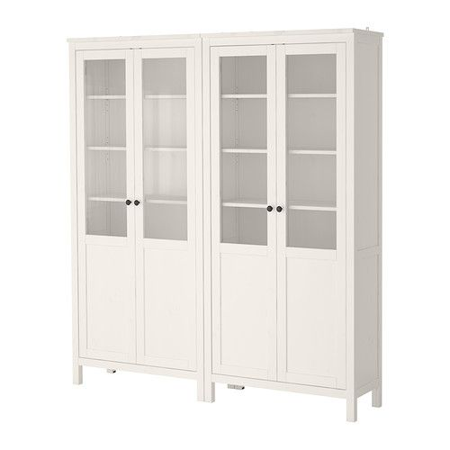 HEMNES Storage combination w/glass doors, white stain white stain 70 7/8x77 1/2