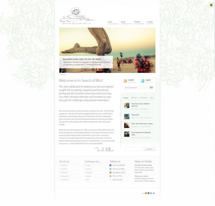Website design www.insearchofbliss.com  To gain awareness in the health and wellness sector the client wanted to create a website which she ...
