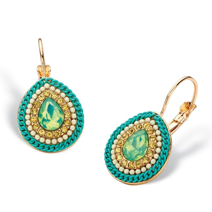 """Pear Drop Simulated Aquamarine 14k Gold-Plated Bead and Rope Lever Back Halo Earrings .75"""" Color Fun"""
