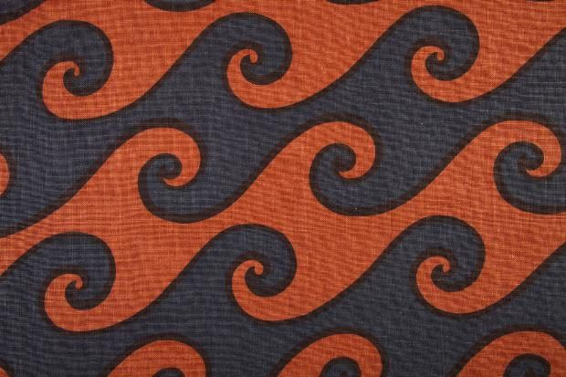 Eleanor & Henry Kluck, Sea Scroll, 1970s. Hand printed on linnen, Elenhank Designers, Illinois, USA. Goldstein Design Museum.