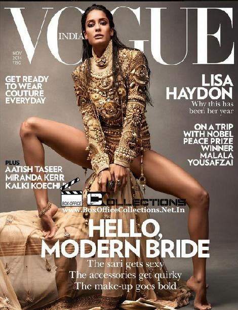 Lisa Haydon Sizzles on Vogue India Magazine Cover November 2014 Edition | BoxOfficeCollections