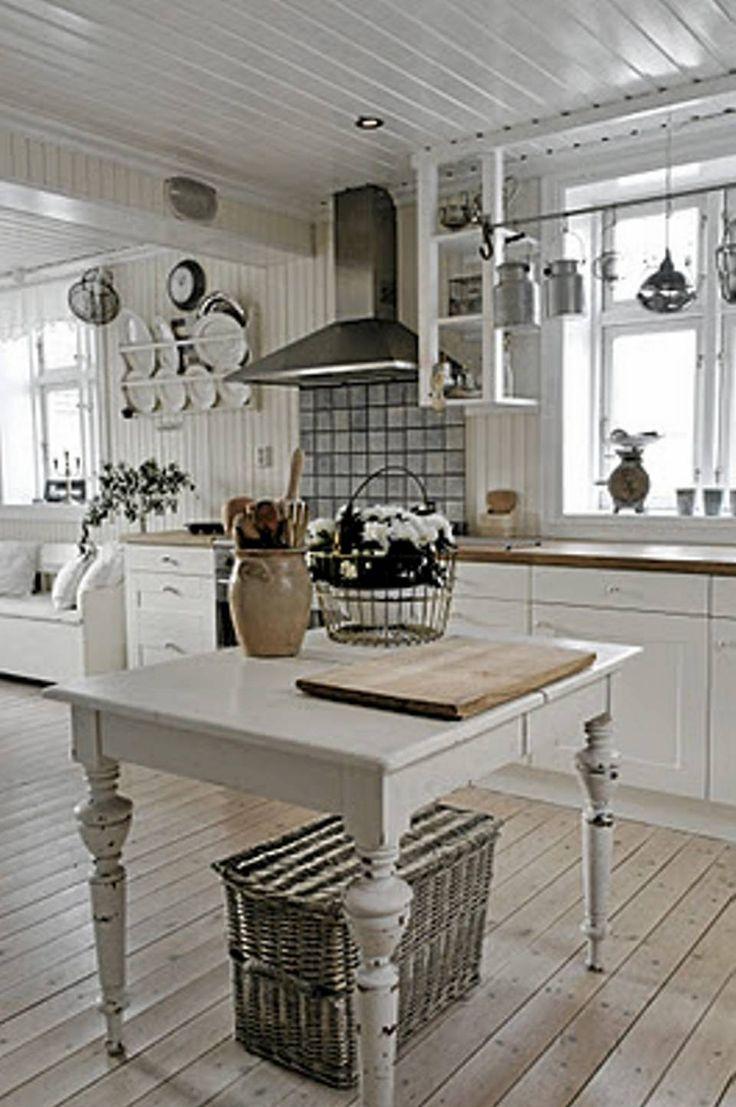 Et rustikt og landlig kjøkken.
