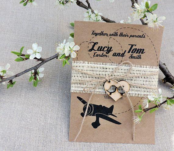 Rustic Airplane Wedding Invitation Suite Airplane Wedding Invitation Suite…