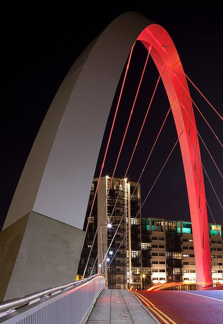 squinty bridge, finnieston, clydeside, river clyde glasgow, night photo, long exposure, modern bridge design, modern glagow architecture by abbozzo, via Flickr