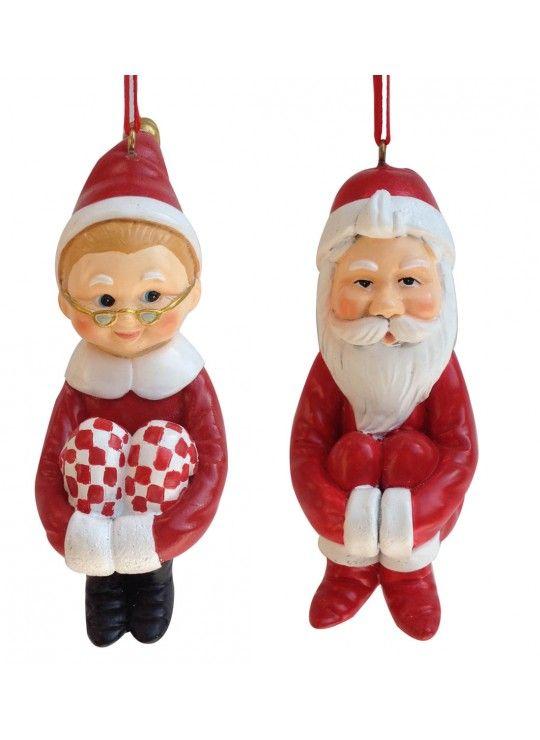 Santa & Mrs. Claus Pixie Ornament Asst. 2
