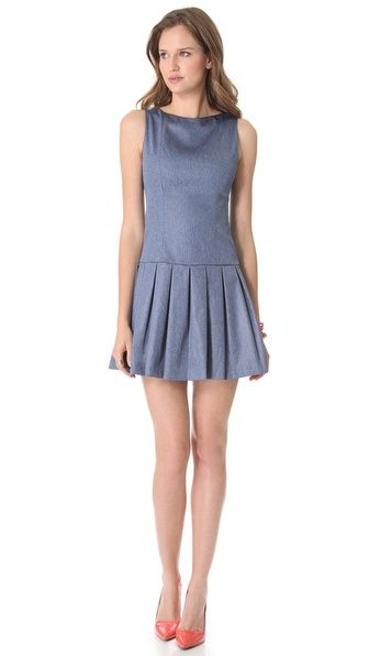 Alice + Olivia Alice Olivia Drop Waist Chambray Dress in Blue   Lyst. Adorable.