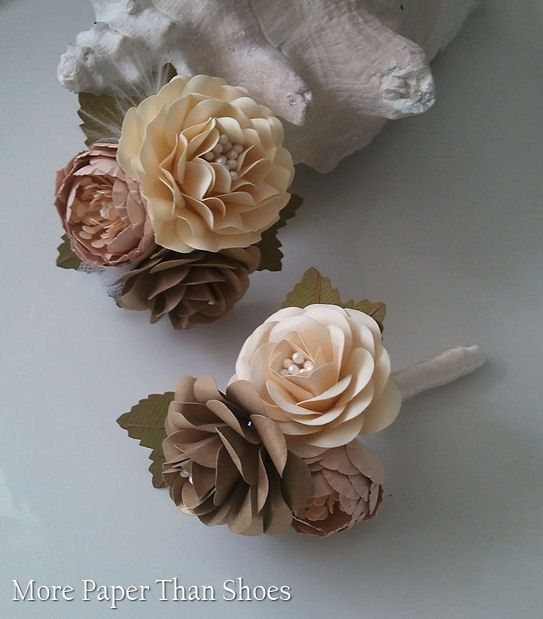 Handmade Paper Flowers - Corsage and  Boutonniere Set - Champagne - Customized Colors - Made To Order via Etsy