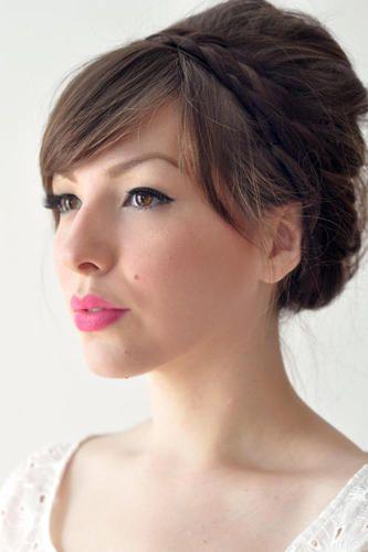 braid bun: Up Dos, Hair Tutorials, Wedding Hair, Bridesmaid Hair, Braids Updo, Long Hair, Pink Lips, Bridal Hair, Hair Style