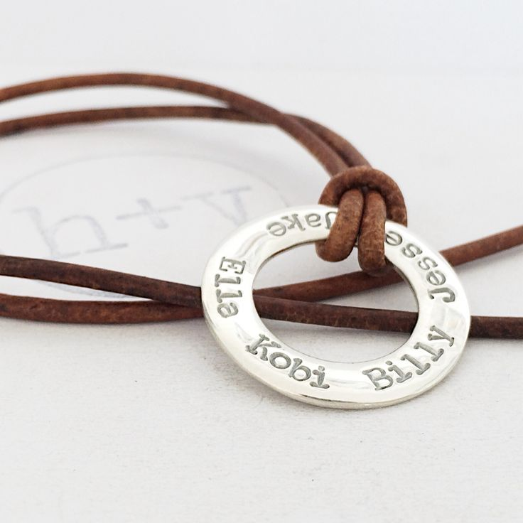 Classic Washer pendant on leather by Honeydew & Violet