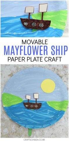 Thanksgiving crafts for kids that they can play with afterwards! This Mayflower ship paper plate craft is totally movable and tons of fun to make. #thanksgiving #thanksgivingcrafts