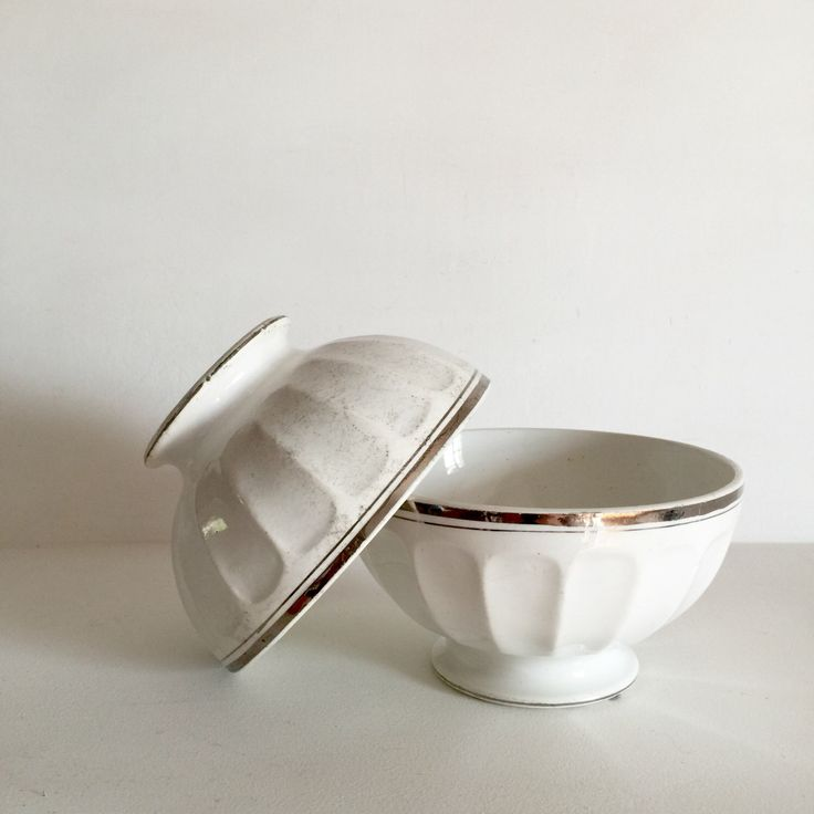 Twin Set French Cafe Au Lait Bowls Vintage Coffee Shabby Chic Breakfast White And Silver St