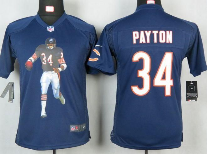 638f3bdb6 ... White Jersey Nike Bears 34 Walter Payton Navy Blue Team Color Youth  Portrait Fashion NFL Game Jersey Kids Nike Chicago ...