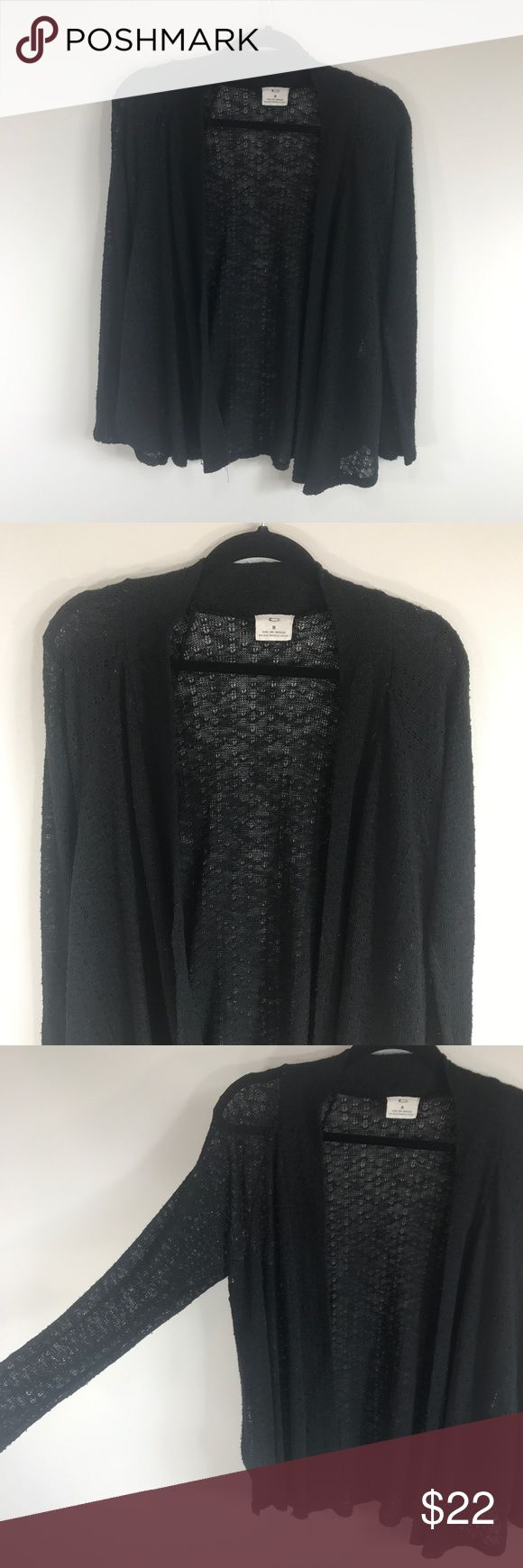 """Pins and Needles Black Gauze Knit Cardigan In excellent used condition. Very thin gauze knit. Distressed style with tiny holes throughout. Size M, true to size. Please refer to measurements to ensure a proper fit! Pit to pit: 19"""" Length: 26"""" Urban Outfitters Sweaters Cardigans"""