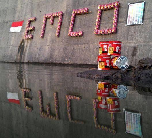 Kreasi kaleng kreatif karya Bono Lukito  Tulisan EMCO di cekdam Merapi #KalengKreatifEMCO