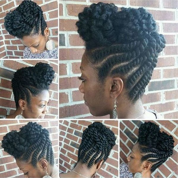 natural protective flat twist updo summer hairstyle