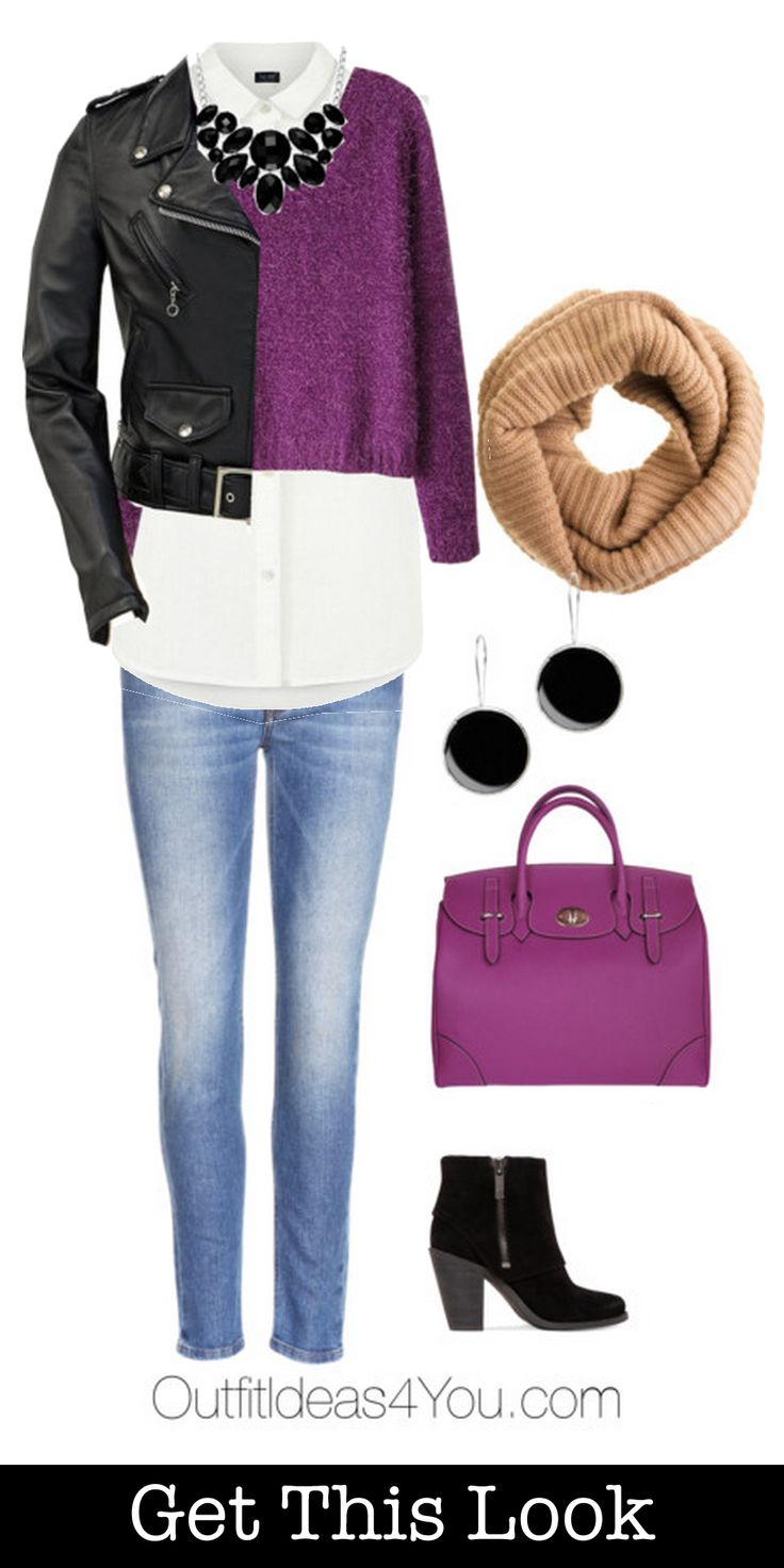 Get this look! Love how the black leather jacket gives an edge to a preppy style.