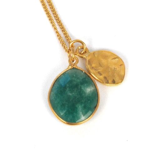 Gold Nugget Indian Emerald Necklace - Nordic Grace Accessories