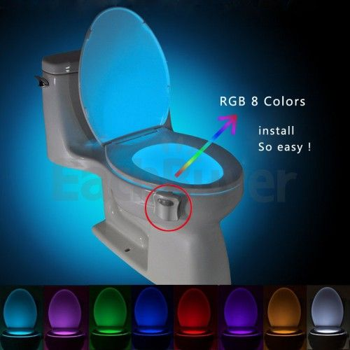 BRELONG Battery Operated Infrared Sensor LED Toilet Light Bath Night Lamp