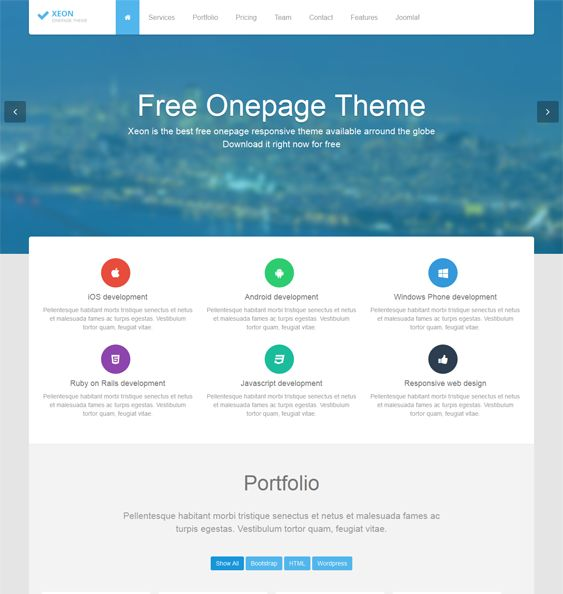 This free one page Joomla template comes with a responsive layout, modules for portfolios, pricing tables, slideshows, and testimonials, and more.