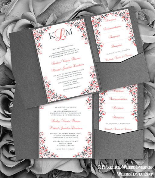117 besten Pocketfold Wedding Invitations, DIY Printable Templates ...