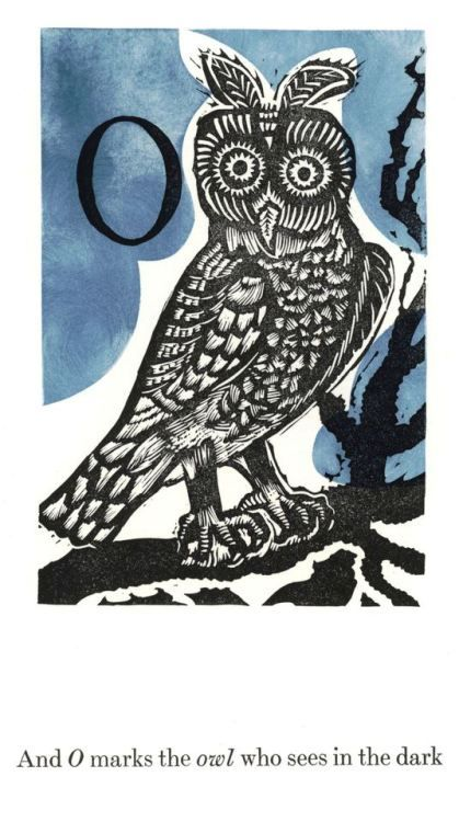 """uwmspeccoll:  """" Monday Motivation Owl Owls are soooo motivated, they see in the dark! This week's motivated owl, an eared species we can't identify, is a linocut by English artist and designer Enid Marx with hand-coloring by Peter Allen from Marco's..."""