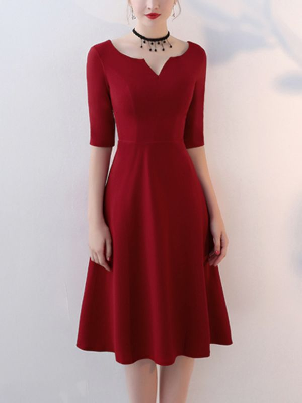 Wine Red Notch Neck A-line Midi Dress With Sleeve
