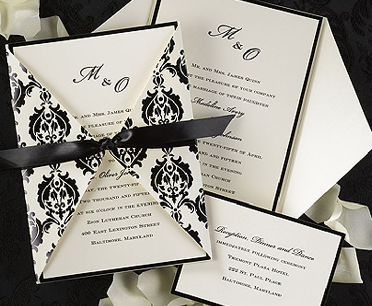 This #damask #weddinginvitation is perfect for a black and white wedding.