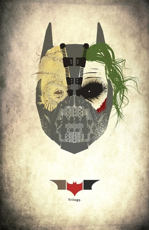 Nolan's Batman trilogy portrayed in one mask: Scarecrow +  Joker + Bane + Batman