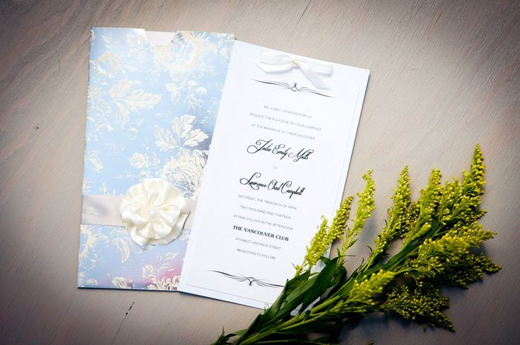 #Vancouver #Handmade #Wedding #Invitations Reflective glossy #handmade silver pocket with cream silk flower and pearl, ivory card stock 2-ply with modern text, small ribbon on top. www.blisspaper.com