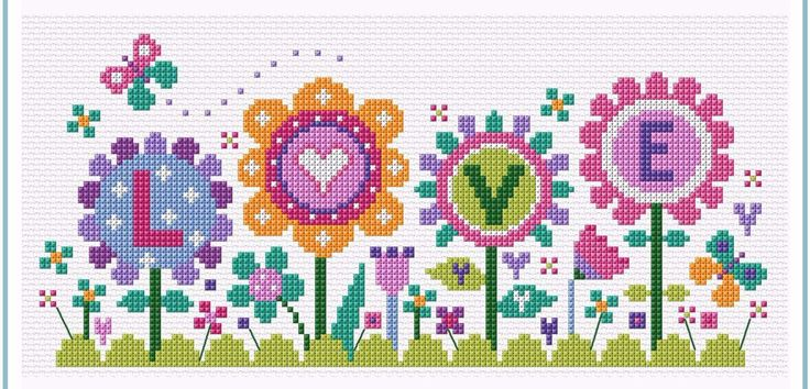 """Flowers of Love Modern cross stitch kit designed by The Stitching Shed. Simple design so maybe suitable for beginners depending on their ability. Contents: 14 count aida fabric, anchor threads, chart and full instructions. Size: 9.5"""" x 4.5"""". *Usually dispatched within 5 working days* See the full range of kits by The Stitching Shed"""