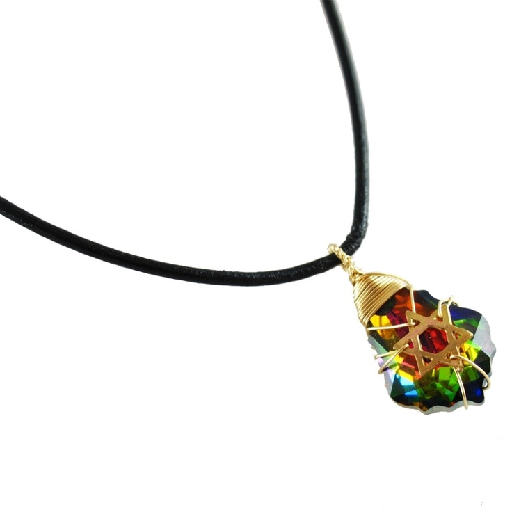Crystal: Gold Filled & Leather Postmodern Star of David Necklace (Rainbow)