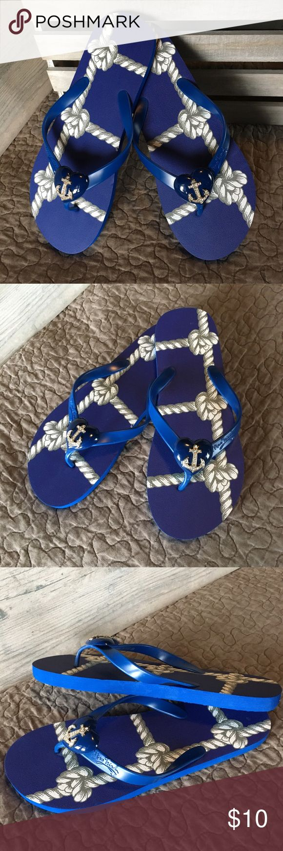 Nautical Sandals Skippers by Miss Trish is a summer flat flip flop featuring anchor embellishment with jewel detail. Never worn. Miss Trish Shoes Sandals