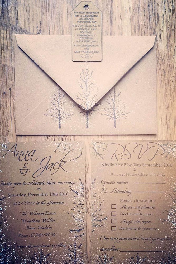24 Elegant Winter Wedding Invitations ❤ See more: http://www.weddingforward.com/winter-wedding-invitations/ #wedding #invitations #winter